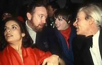 Jagger Haley Minellii Warhol8996.JPG<br /> 1978 FILE PHOTO<br /> New York, NY<br /> Bianca Jagger Jack Haley Jr., Liza Minellii <br /> and Andy Warhol at Studio 54<br /> Photo by Adam Scull-PHOTOlink.net<br /> ONE TIME REPRODUCTION RIGHTS ONLY<br /> 917-754-8588 - eMail: adam@photolink.net<br /> Facebook: https://www.facebook.com/adam.scull.94