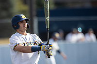 Michigan Wolverines designated hitter Jimmy Obertop (8) at the plate against the Michigan State Spartans on March 22, 2021 in NCAA baseball action at Ray Fisher Stadium in Ann Arbor, Michigan. Michigan State beat the Wolverines 3-0. (Andrew Woolley/Four Seam Images)