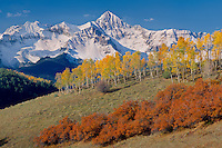 Aspens, gambel oaks and Mt. Wilson<br />   from Deep Creek Mesa<br /> San Miguel Mountains<br /> Rocky Mountains, Colorado