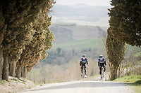 Geraint Thomas (GBR/SKY) & Owain Doull (GBR/SKY) during the Team SKY race reconnaissance 1 day prior to the 13th Strade Bianche 2019 (1.UWT)<br /> One day race from Siena to Siena (184km)<br /> <br /> ©kramon