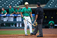 Daniel Jung (31) of the Notre Dame Fighting Irish talks with home plate umpire Olindo Mattia during the game against the Florida State Seminoles in Game Four of the 2017 ACC Baseball Championship at Louisville Slugger Field on May 24, 2017 in Louisville, Kentucky. The Seminoles walked-off the Fighting Irish 5-3 in 12 innings. (Brian Westerholt/Four Seam Images)