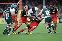 Vereniki Goneva of Leicester Tigers tramples over Michael Rhodes of Saracens during the Aviva Premiership semi final match between Saracens and Leicester Tigers at Allianz Park on Saturday 21st May 2016 (Photo: Rob Munro/Stewart Communications)
