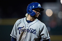 Wilyer Abreu (24) of the Asheville Tourists walks off the field after being called out on strikes during the game against the Winston-Salem Dash at Truist Stadium on September 17, 2021 in Winston-Salem, North Carolina. (Brian Westerholt/Four Seam Images)