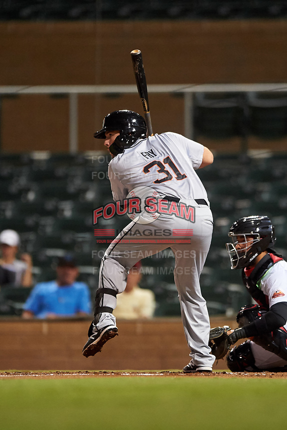 Glendale Desert Dogs David Fry (31), of the Milwaukee Brewers organization, at bat during an Arizona Fall League game against the Scottsdale Scorpions on September 20, 2019 at Salt River Fields at Talking Stick in Scottsdale, Arizona. Scottsdale defeated Glendale 3-2. (Zachary Lucy/Four Seam Images)
