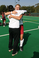 6 November 2007: Stanford Cardinal Lisa Maffucci (facing) during Stanford's 1-0 win against the Lock Haven Lady Eagles in an NCAA play-in game to advance to the NCAA tournament at the Varsity Field Hockey Turf in Stanford, CA.