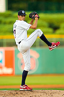 Lakewood BlueClaws starting pitcher Hoby Milner (17) in action against the Kannapolis Intimidators at FirstEnergy Park on August 8, 2012 in Lakewood, New Jersey.  The BlueClaws defeated the Intimidators 5-0.  (Brian Westerholt/Four Seam Images)