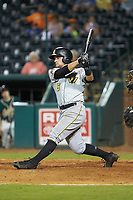 Ben Bengtson (5) of the West Virginia Power follows through on his swing against the Greensboro Grasshoppers at First National Bank Field on August 9, 2018 in Greensboro, North Carolina. The Power defeated the Grasshoppers 9-7 in game two of a double-header. (Brian Westerholt/Four Seam Images)
