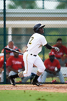GCL Pirates left fielder Luis Benitez (2) at bat during a game against the GCL Phillies on August 6, 2016 at Pirate City in Bradenton, Florida.  GCL Phillies defeated the GCL Pirates 4-1.  (Mike Janes/Four Seam Images)