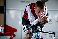 European Time Trial Champion Victor Campenaerts (BEL/Lotto Soudal) warming up focus. <br /> <br /> Baloise Belgium Tour 2019<br /> Stage 3: ITT Grimbergen – Grimbergen 9.2km<br /> ©kramon