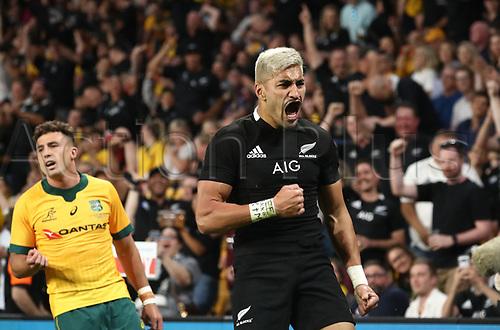 7th November 2020, Brisbane, Australia; Tri Nations International rugby union, Australia versus New Zealand;  Rieko Ioane of The Allblacks celebrates as he scores a try