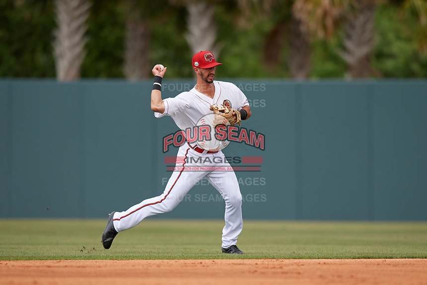 Florida Fire Frogs second baseman Brett Langhorne (23) throws to first base during a Florida State League game against the Jupiter Hammerheads on April 8, 2019 at Osceola County Stadium in Kissimmee, Florida.  Florida defeated Jupiter 7-6 in ten innings.  (Mike Janes/Four Seam Images)