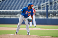 GCL Mets starting pitcher Jaison Vilera (61) looks in for the sign during the first game of a doubleheader against the GCL Nationals on July 22, 2017 at The Ballpark of the Palm Beaches in Palm Beach, Florida.  GCL Mets defeated the GCL Nationals 1-0 in a seven inning game that originally started on July 17th.  (Mike Janes/Four Seam Images)