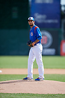 South Bend Cubs starting pitcher Tyson Miller (35) gets ready to deliver a pitch during a game against the Kane County Cougars on May 3, 2017 at Four Winds Field in South Bend, Indiana.  South Bend defeated Kane County 6-2.  (Mike Janes/Four Seam Images)
