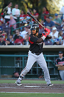 Edwin Moreno (15) of the Lake Elsinore Storm bats against the Inland Empire 66ers at San Manuel Stadium on April 29, 2017 in San Bernardino, California. Inland Empire defeated Lake Elsinore, 3-1. (Larry Goren/Four Seam Images)