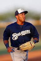 Edgardo Rivera #8 of the AZL Brewers during a game against the AZL Padres at the Texas Rangers Spring Training Complex on July 12, 2013 in Surprise, Arizona. AZL defeated the AZL Padres, 5-3. (Larry Goren/Four Seam Images)
