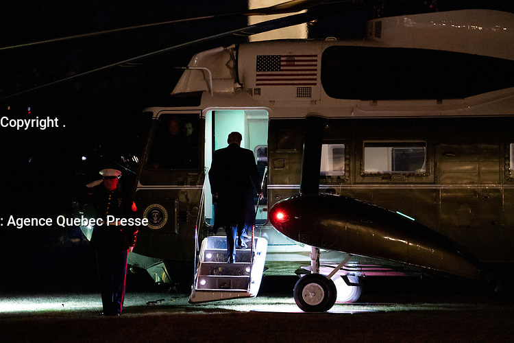 President Trump at Davos<br /> <br /> President Donald J. Trump boards Marine One Monday, Jan. 20, 2020, en route to Joint Base Andrews to begin his trip to Davos where he'll participate in the World Economic Forum annual meetings. (Official White House Photo by Tia Dufour)