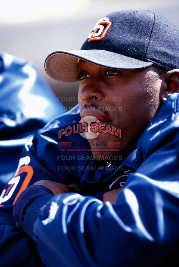 Gary Matthews, jr. of the San Diego Padres participates in a Major League Baseball Spring Training game with the during the 1998 season in Phoenix, Arizona. (Larry Goren/Four Seam Images)