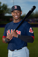 Salem Red Sox third baseman Rafael Devers (13) poses for a photo prior to the game against the Winston-Salem Dash at BB&T Ballpark on April 15, 2016 in Winston-Salem, North Carolina.  The Red Sox defeated the Dash 3-2.  (Brian Westerholt/Four Seam Images)