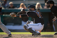 Modesto Nuts catcher Garrett Kennedy (29) during a California League game against the San Jose Giants at John Thurman Field on May 9, 2018 in Modesto, California. San Jose defeated Modesto 9-5. (Zachary Lucy/Four Seam Images)
