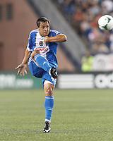 Philadelphia Union midfielder Daniel Cruz (44) clears the ball.  In a Major League Soccer (MLS) match, the New England Revolution (dark blue) defeated Philadelphia Union (light blue), 5-1, at Gillette Stadium on August 25, 2013.