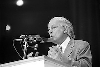 Parti Quebecois  leader  Rene Levesque  victory speech on election night, April 13, 1981.<br /> <br /> He  got elected for a second term