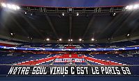 PARIS, FRANCE - MARCH 11: (FREE FOR EDITORIAL USE) In this handout image provided by UEFA, A PSG banner is seen with a message about COVID-19 virus during the UEFA Champions League round of 16 second leg match between Paris Saint-Germain and Borussia Dortmund at Parc des Princes on March 11, 2020 in Paris, France. The match is played behind closed doors as a precaution against the spread of COVID-19 (Coronavirus).  (Photo by UEFA - Handout/UEFA via Getty Images)
