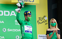 8th July 2021; Nimes, France;CAVENDISH Mark (GBR) of DECEUNINCK - QUICK-STEP pictured with the green jersey during the podium ceremony  during stage 12 of the 108th edition of the 2021 Tour de France cycling race, a stage of 159,4 kms between Saint-Paul-Trois-Chateaux and Nimes.