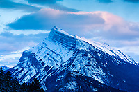 Mountains at sunset inside Banff National Park, Alberta, Canada