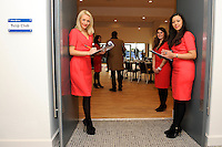 20130216 Copyright onEdition 2013©.Free for editorial use image, please credit: onEdition..Hostesses welcoming guests to the Tulip Club during thePremiership Rugby match between Saracens and Exeter Chiefs at Allianz Park on Saturday 16th February 2013 (Photo by Rob Munro)..For press contacts contact: Sam Feasey at brandRapport on M: +44 (0)7717 757114 E: SFeasey@brand-rapport.com..If you require a higher resolution image or you have any other onEdition photographic enquiries, please contact onEdition on 0845 900 2 900 or email info@onEdition.com.This image is copyright onEdition 2013©..This image has been supplied by onEdition and must be credited onEdition. The author is asserting his full Moral rights in relation to the publication of this image. Rights for onward transmission of any image or file is not granted or implied. Changing or deleting Copyright information is illegal as specified in the Copyright, Design and Patents Act 1988. If you are in any way unsure of your right to publish this image please contact onEdition on 0845 900 2 900 or email info@onEdition.com