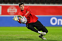 24th March 2021; Leuven, Belgium; Thibaut Courtois goalkeeper of Belgium warms up during the World Cup Qatar 2022 Qualifiers Match between Belgium and Wales on March 24, 2021 in Leuven, Belgium