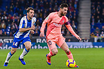 Lionel Messi of FC Barcelona (R) dribbles Victor Sanchez of RCD Espanyol (L) during the La Liga 2018-19 match between RDC Espanyol and FC Barcelona at Camp Nou on 08 December 2018 in Barcelona, Spain. Photo by Vicens Gimenez / Power Sport Images