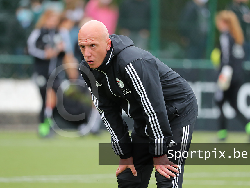 Assistant coach Arno Van Den Abbeel of OHL pictured during the warm up before a female soccer game between Oud Heverlee Leuven and AA Gent Ladies on the 9 th matchday of play off 1 in the 2020 - 2021 season of Belgian Womens Super League , saturday 22 nd of May 2021  in Heverlee , Belgium . PHOTO SPORTPIX.BE | SPP | SEVIL OKTEM