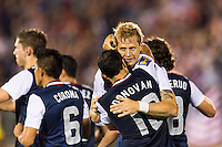 United States midfielder Brek Shea (23) celebrates scoring with midfielder Landon Donovan (10). The United States defeated Costa Rica 1-0 during a CONCACAF Gold Cup group B match at Rentschler Field in East Hartford, CT, on July 16, 2013.