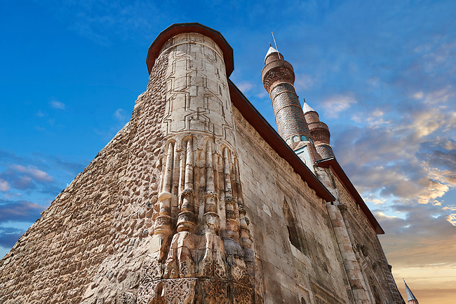 The Gökmedrese or Gök Medrese built in 1271 by Vizier Ata Faahreddin Ali. close up of the corner seljuk stone work. Sivas, Turkey