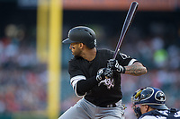 Leury Garcia (28) of the Chicago White Sox at bat against the Detroit Tigers at Comerica Park on June 2, 2017 in Detroit, Michigan.  The Tigers defeated the White Sox 15-5.  (Brian Westerholt/Four Seam Images)