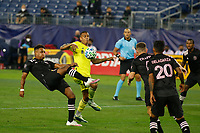 20th November 2020, Nashville, TN, USA;  Nashville SC midfielder Randall Leal intercepts the clearance by Inter Miami defender Denso Ulysse (36) during the MLS Cup Playoffs Eastern Conference Play-In game between Nashville SC and Inter Miami, November 20, 2020 at Nissan Stadium