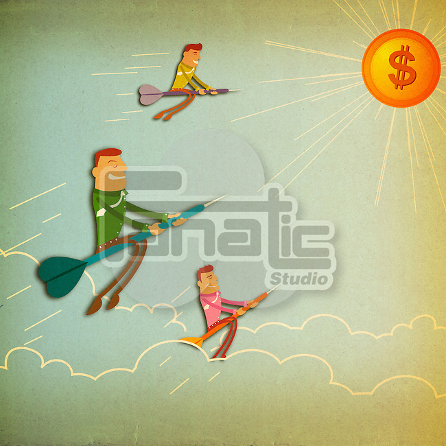 Business executives flying towards dollar sign