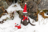WEATHER PICTURE WALES<br /> Pictured: A Santa Claus left by a frozen waterfall at Storey Arms in the Brecon Beacons, Wales, UK. Saturday 03 March 2018<br /> Re: Storm Emma and Beast from the East has been affecting most parts of the UK.