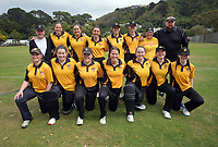 Collegians pose for a group photo before the Wellington women's Maureen Peters T20 competition cricket final between Wellington Collegians and Hutt District at Anderson Park in Wellington, New Zealand on Saturday, 28 March 2021. Photo: Dave Lintott / lintottphoto.co.nz