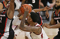 Arkansas forward Vance Jackson Jr. (2) looks for a shot, Saturday, January 9, 2021 during the first half of a basketball game at Bud Walton Arena in Fayetteville. Check out nwaonline.com/210110Daily/ for today's photo gallery. <br /> (NWA Democrat-Gazette/Charlie Kaijo)