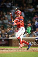 Elijah Cabell (99) of TNXL Academy in Winter Park, Florida at bat during the Under Armour All-American Game presented by Baseball Factory on July 29, 2017 at Wrigley Field in Chicago, Illinois.  (Mike Janes/Four Seam Images)