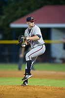 Danville Braves relief pitcher Jacob Belinda (25) in action against the Burlington Royals at Burlington Athletic Stadium on August 14, 2017 in Burlington, North Carolina.  The Royals defeated the Braves 9-8 in 10 innings.  (Brian Westerholt/Four Seam Images)