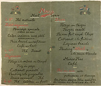 BNPS.co.uk (01202) 558833<br /> Pic: Tennants/BNPS<br /> <br /> A 'dream' Christmas menu put together from the from the camp<br /> <br /> Cartoon drawings and photographs documenting life in a brutal Japanese prisoner of war camp have been found in an archive belonging to a former soldier. <br /> <br /> The satirical sketches depicting the plight of the British PoWs were produced in secret by Captain Harry Witheford and fell inmate Ronald Searle, the famous illustrator. <br /> <br /> The scenes included the notorious Changi PoW camp in Singapore and the building of the 'Death Railway' along the River Kwai in Burma. <br /> <br /> There are three previously unseen cartoons by Searle. <br /> <br /> One is a sketch to mark Capt Witheford's wife Edna's birthday on April 10, 1944, which shows four officers wearing only loincloths toasting her with mugs of beer.<br /> <br /> Searle also created a calendar for his friend which depicted an image of an army officer lying besides a naked blonde woman. <br /> <br /> Capt Witheford's accomplished work includes a drawing of a prisoner having a bath covered in sunburns from working on the railway.