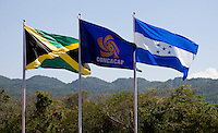 Flags of the participating nations fly over the stadium during the quarterfinals of the CONCACAF Men's Under 17 Championship at Catherine Hall Stadium in Montego Bay, Jamaica. Jamaica defeated Honduras, 2-1.