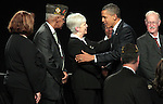 Presiden Barack Obama greets the crowd after speaking at the 113th National Convention of the Veterans of Foreign Wars in Reno, Nev., on Monday, July 23, 2012..Photo by Cathleen Allison
