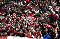 BOGOTA-COLOMBIA, 21-02-2020: Hinchas de Independiente Santa Fe, durante partido de la fecha 6 entre Independiente Santa Fe y America de Cali, por la Liga BetPLay DIMAYOR I 2020, en el estadio Nemesio Camacho El Campin de la ciudad de Bogota. / Fans Independiente Santa Fe, during a match of the 6th date between Independiente Santa Fe and America de Cali, for the BetPlay DIMAYOR I Leguaje 2020 at the Nemesio Camacho El Campin Stadium in Bogota city. / Photo: VizzorImage / Luis Ramirez / Staff.