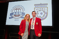 San Francisco, CA - Saturday Feb. 14, 2015:  2014 US Soccer Hall of Fame inductees Kristine Lilly and Brian McBride after being inducted into the Hall of Fame at the 2014 US Soccer Hall of Fame Induction ceremony.
