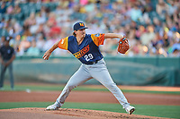 Las Vegas Aviators starting pitcher Parker Dunshee (29) delivers a pitch to the plate against the Salt Lake Bees  at Smith's Ballpark on July 20, 2019 in Salt Lake City, Utah. The Aviators defeated the Bees 8-5. (Stephen Smith/Four Seam Images)