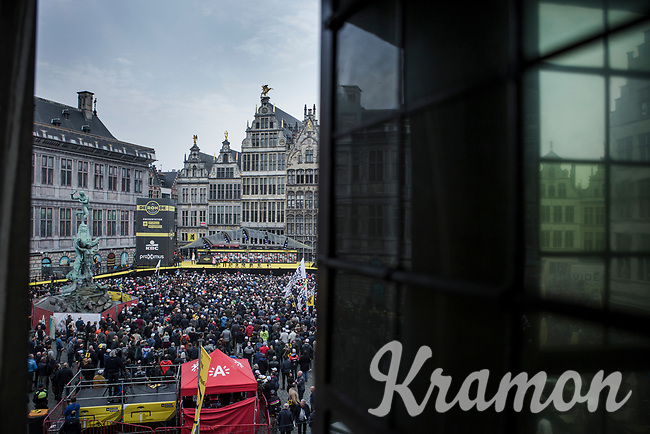 Team Wanty Gobert pre race team presentation on the spectacular start podium in the center square of the race start town of Antwerp<br /> <br /> 103rd Ronde van Vlaanderen 2019<br /> One day race from Antwerp to Oudenaarde (BEL/270km)<br /> <br /> ©kramon