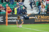 20120803 Copyright onEdition 2012©.Free for editorial use image, please credit: onEdition.Jack Walsh of Sale Sharks scores a try against Saracens 7s at The Recreation Ground, Bath in the Final round of The J.P. Morgan Asset Management Premiership Rugby 7s Series...The J.P. Morgan Asset Management Premiership Rugby 7s Series kicked off again for the third season on Friday 13th July at The Stoop, Twickenham with Pool B being played at Edgeley Park, Stockport on Friday, 20th July, Pool C at Kingsholm Gloucester on Thursday, 26th July and the Final being played at The Recreation Ground, Bath on Friday 3rd August. The innovative tournament, which involves all 12 Premiership Rugby clubs, offers a fantastic platform for some of the country's finest young athletes to be exposed to the excitement, pressures and skills required to compete at an elite level...The 12 Premiership Rugby clubs are divided into three groups for the tournament, with the winner and runner up of each regional event going through to the Final. There are six games each evening, with each match consisting of two 7 minute halves with a 2 minute break at half time...For additional images please go to: http://www.w-w-i.com/jp_morgan_premiership_sevens/..For press contacts contact: Beth Begg at brandRapport on D: +44 (0)20 7932 5813 M: +44 (0)7900 88231 E: BBegg@brand-rapport.com..If you require a higher resolution image or you have any other onEdition photographic enquiries, please contact onEdition on 0845 900 2 900 or email info@onEdition.com.This image is copyright the onEdition 2012©..This image has been supplied by onEdition and must be credited onEdition. The author is asserting his full Moral rights in relation to the publication of this image. Rights for onward transmission of any image or file is not granted or implied. Changing or deleting Copyright information is illegal as specified in the Copyright, Design and Patents Act 1988. If you are in any way unsure of your right to publish this image pl